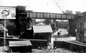 Railway Bridge -Last train ever, taking up rails. 1969